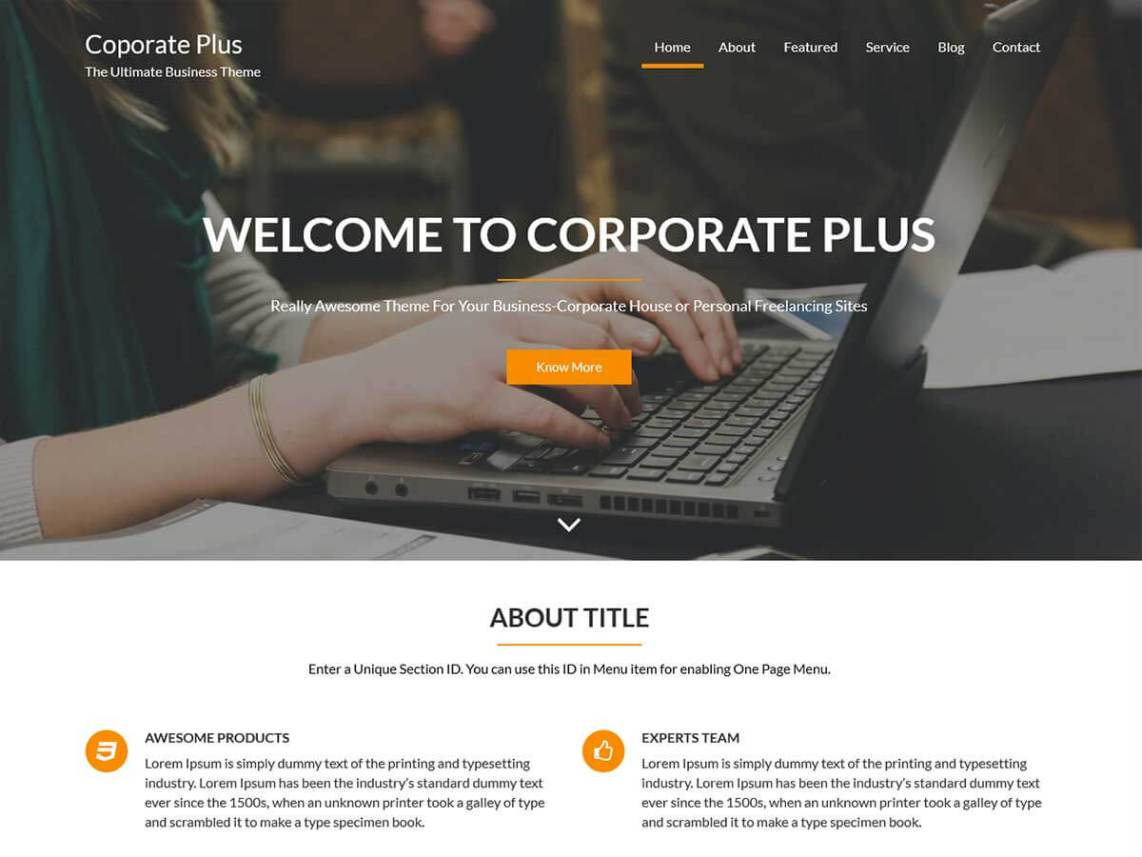Corporate plug One Page Theme