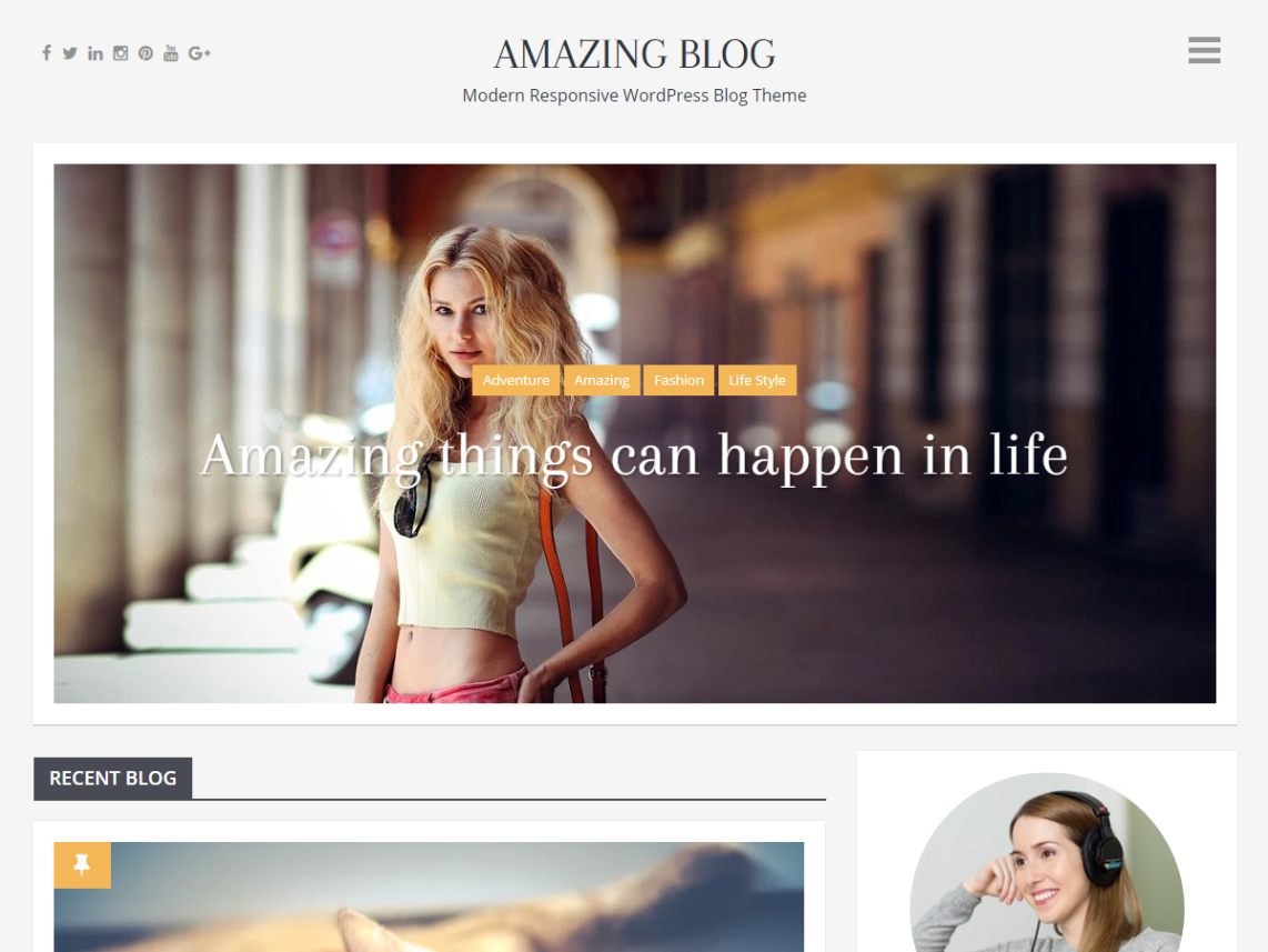 Amazing Blog Is A Clean Modern Fully Responsive WordPress Theme Beautifully Crafted To Create Stunning Web Pages For Personal And Business