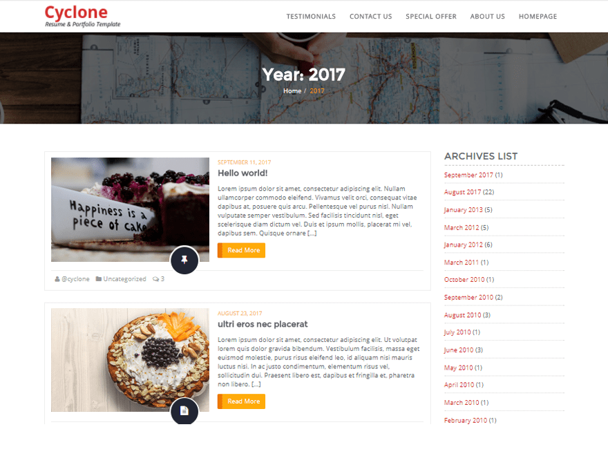 Cyclone Blog Template