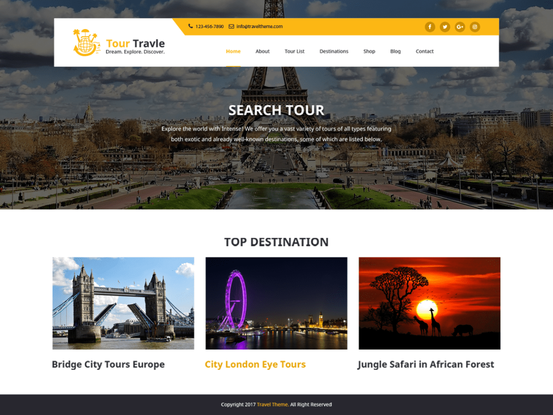 Travel and Tours Theme