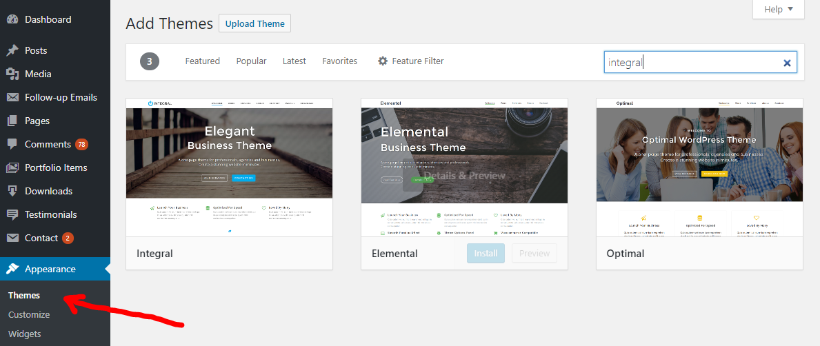 Install a free wordpress theme from the WordPress.org directory