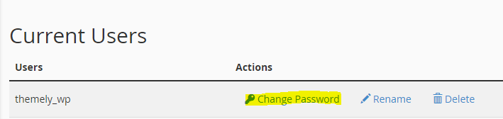 Navigate to Current Users section and click Change Password