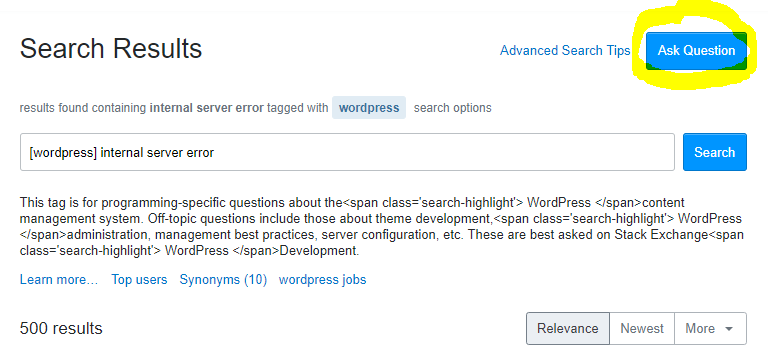 Ask a question on Stack Overflow