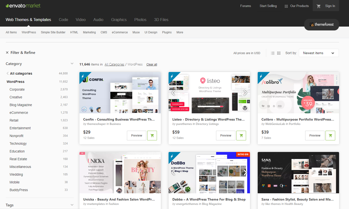ThemeForest WordPress Themes Marketplace