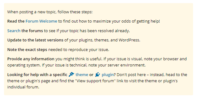 When posting a new topic, follow these steps