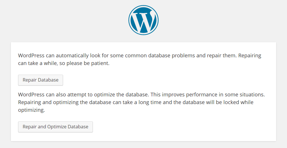 WordPress Repair Database Feature