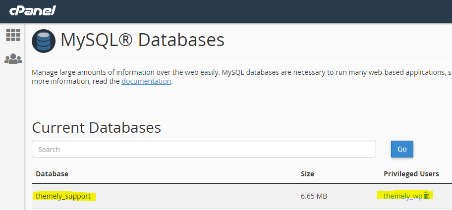 cPanel MYSQL Databases Management