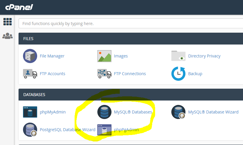 cPanel Manage MYSQL Databases