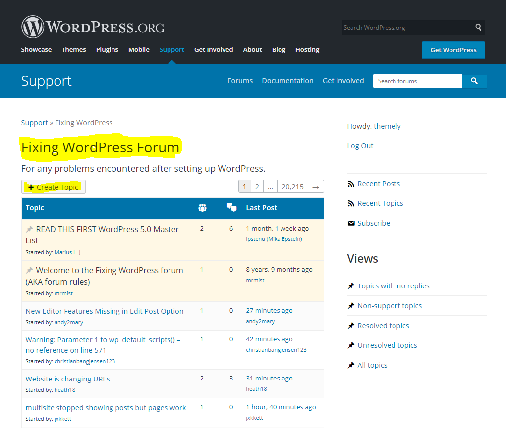 Ask a question in the Fixing WordPress Forum