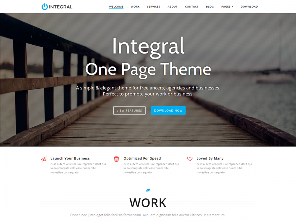 integral free premium one page business wordpress theme