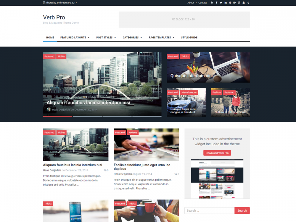 Verb - Blog & Magazine Wordpress Theme by Themely