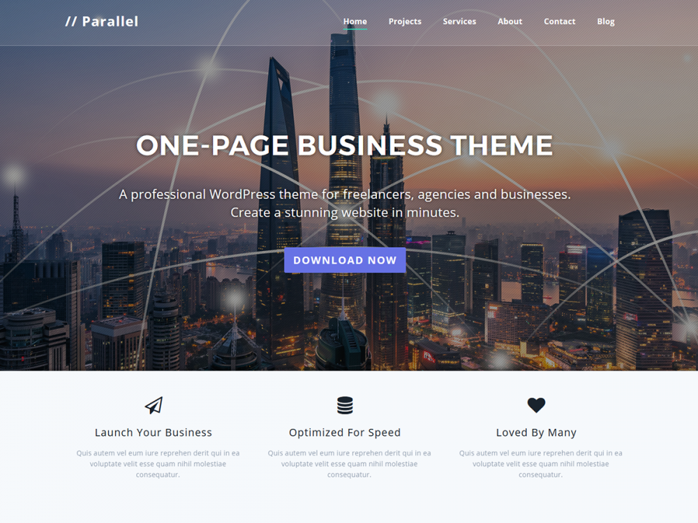 Parallel - One-page Multipurpose Business WordPress Theme
